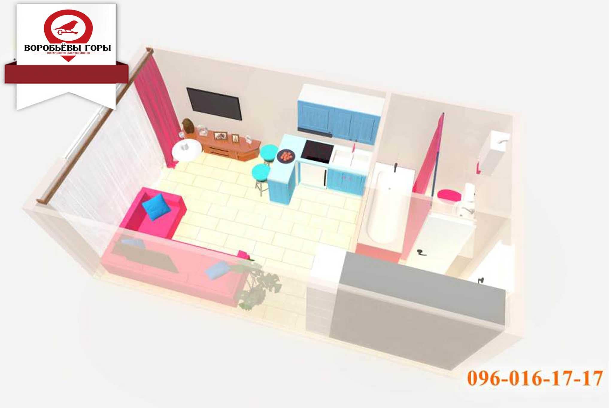 Дизайн интерьера квартиры-студии 23-25 м2, на примере ЖК «Воробьевы горы»