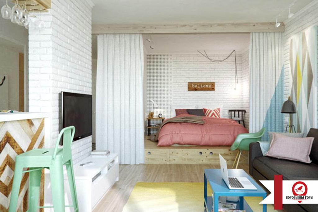 Обустройство зоны отдыха и сна для небольших квартир-студий